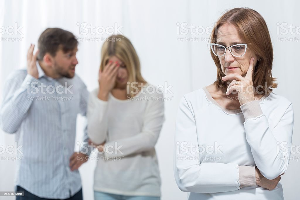 Interfering mother-in-law stock photo