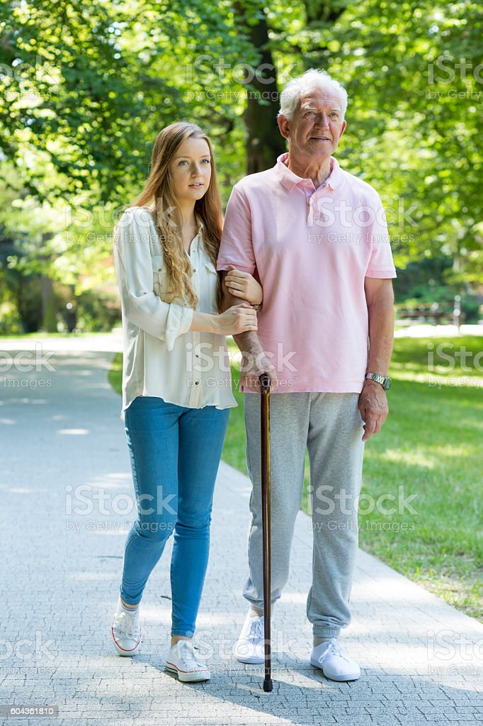 Intergenerational relation between man and woman stock photo