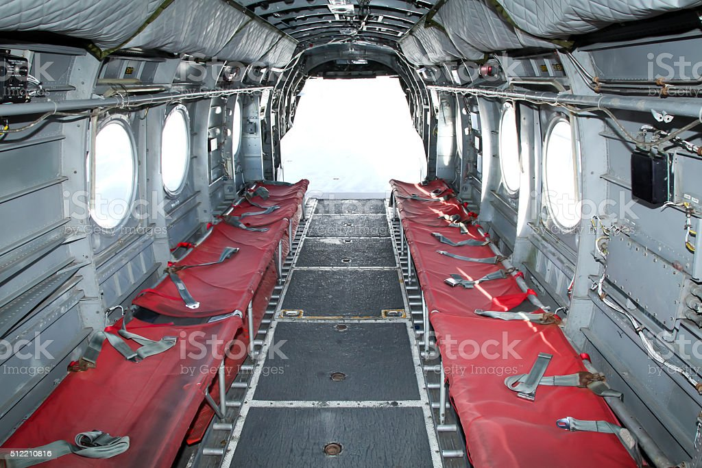 Interior a Chinook Helicopter stock photo