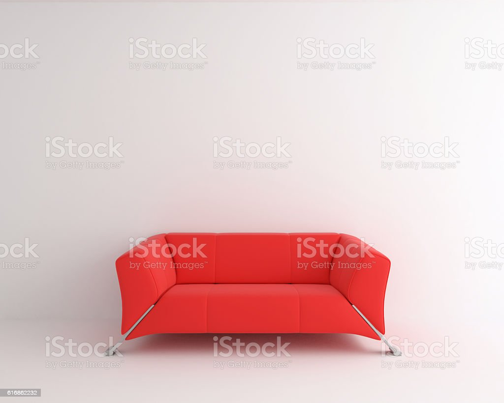 interior abstract, red sofa in white room stock photo