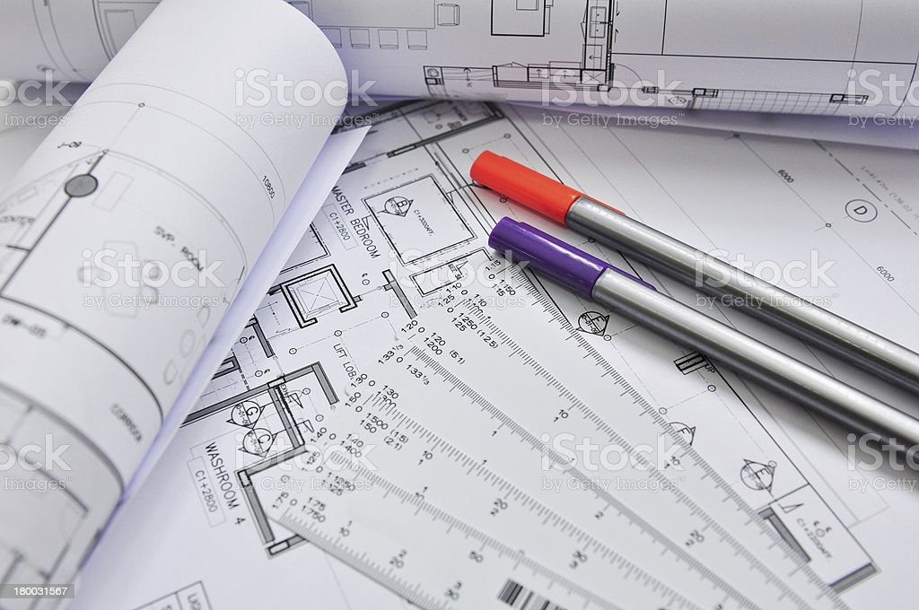 interior and architectural drawing royalty-free stock photo