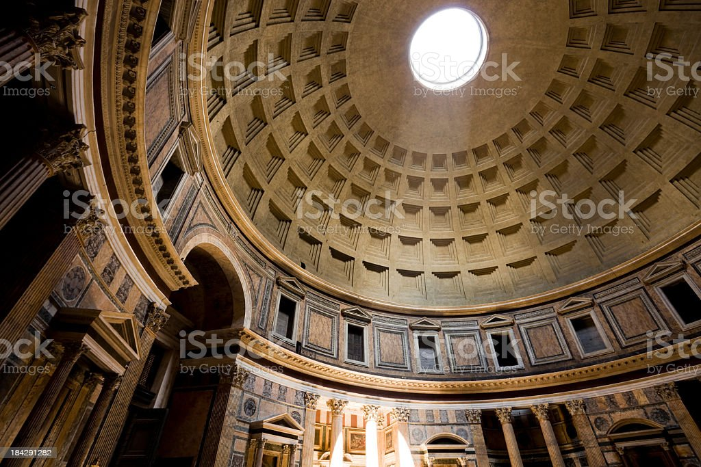 Interior and ceiling of the Pantheon in Rome, Italy royalty-free stock photo