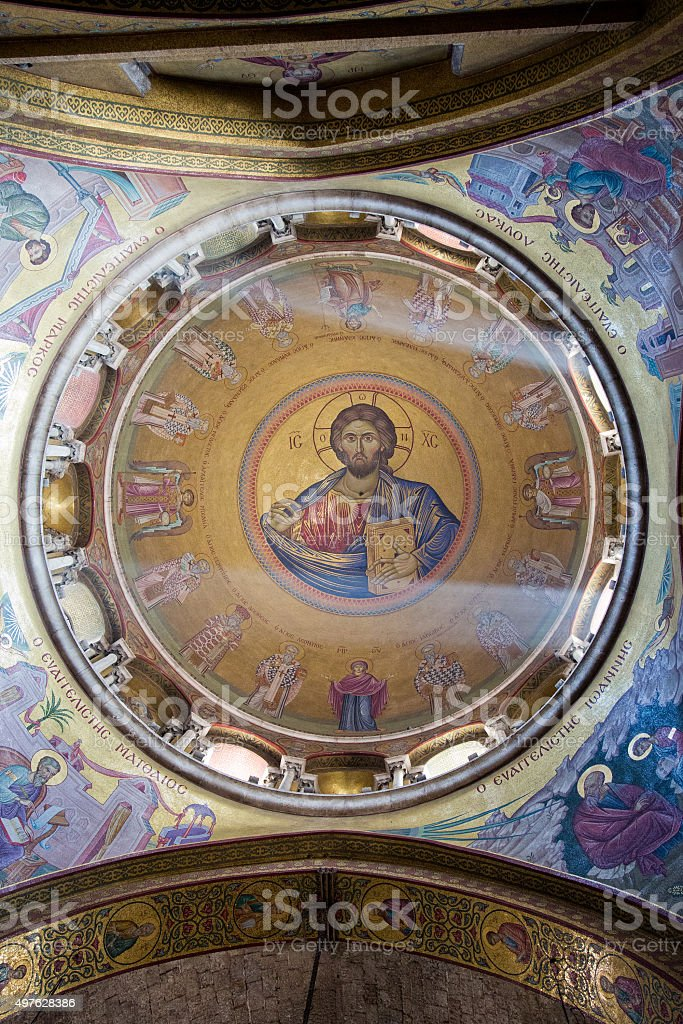 Interior and Dome of Holy Sepulcher Cathedral, Jerusalem stock photo
