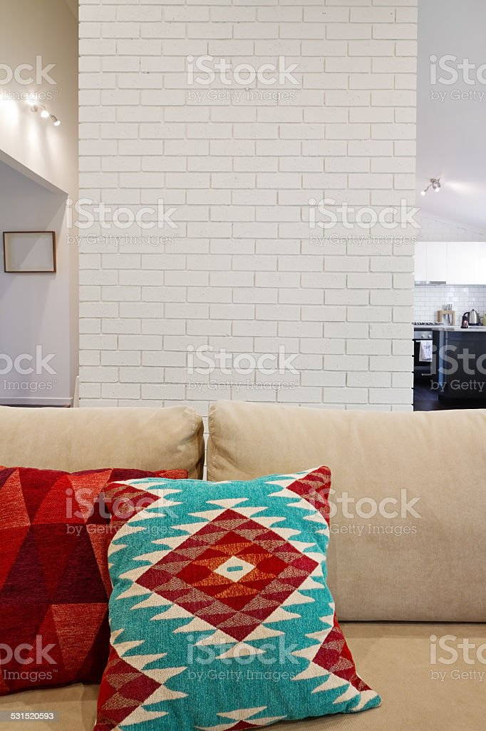 Interior architectural brick feature wall with space for text stock photo