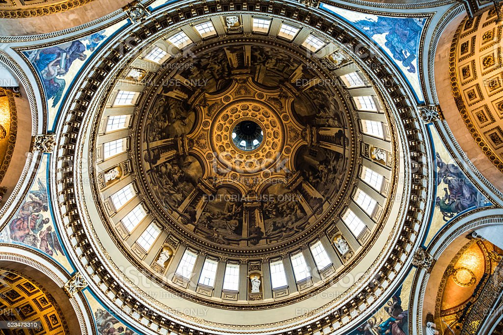 Interior Architecture of St Paul's Cathedral, London, UK stock photo