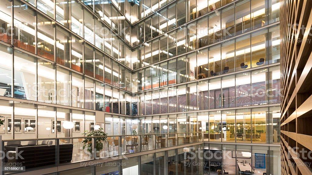Interior atrium of modern office building stock photo