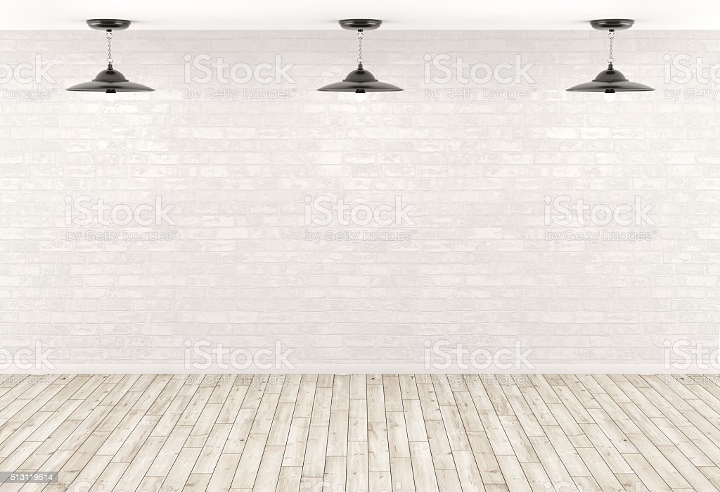 Interior background lamps over the brick wall 3d render stock photo