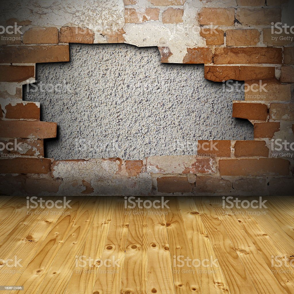 interior background with cracked wall royalty-free stock photo