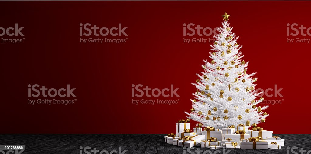 Interior background with white christmas tree 3d render stock photo