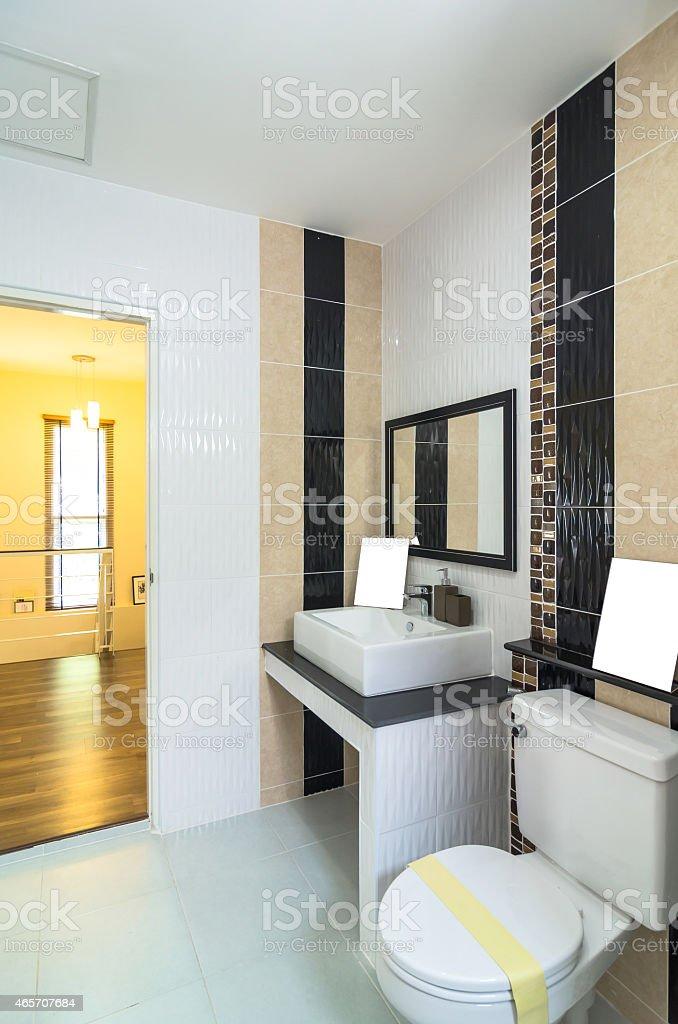 Interior bathtoom in Luxury Home stock photo
