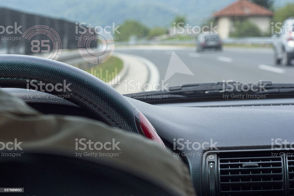 interior car cockpit hud display stock photo