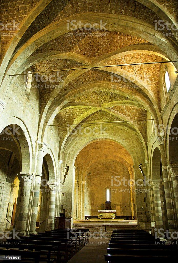 Interior Cathedral Sovana - Italy stock photo