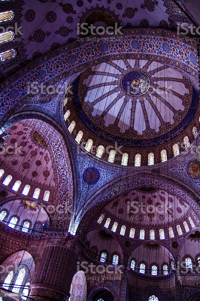 Interior Ceiling of The Blue Mosque, Istanbul, Turkey stock photo