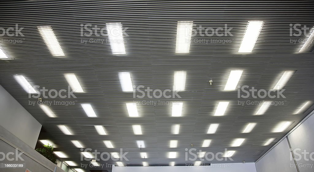 Interior ceiling panels with strip lights stock photo