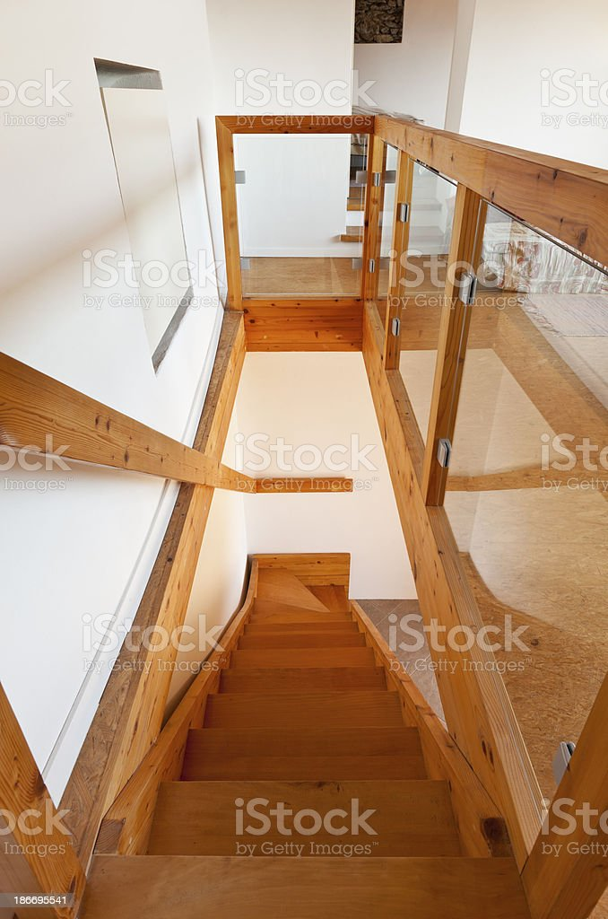 interior chalet, wooden staircase view stock photo