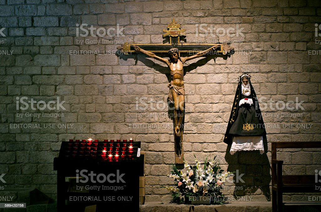 Interior church of Santa Maria de Taull, Catalonia, Spain stock photo