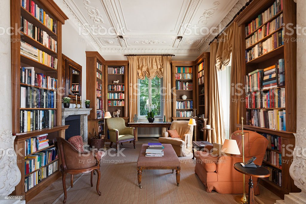 Interior, classical library stock photo