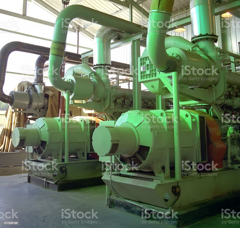 Interior Compressor Station stock photo