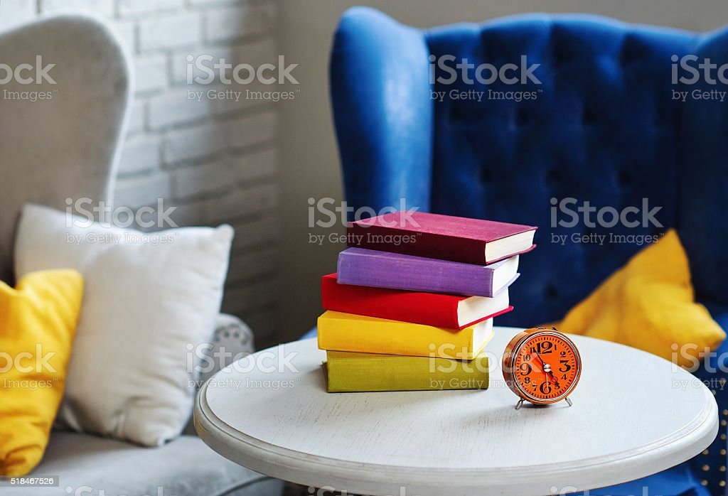 Interior corner with books stock photo
