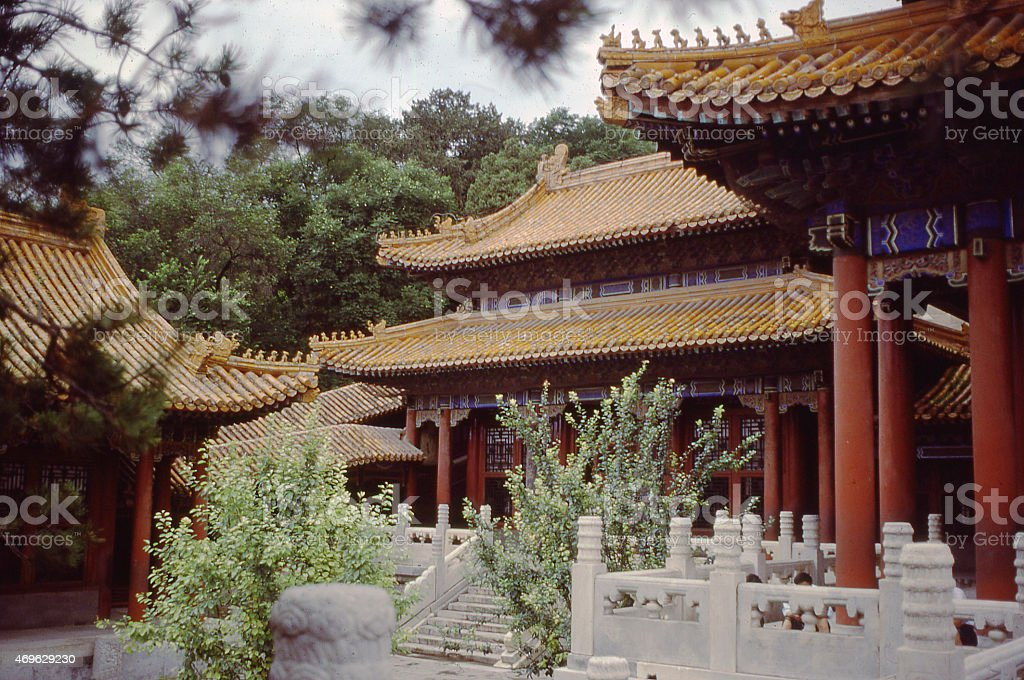 Interior Courtyard small palace in the Forbidden City Beijing China stock photo