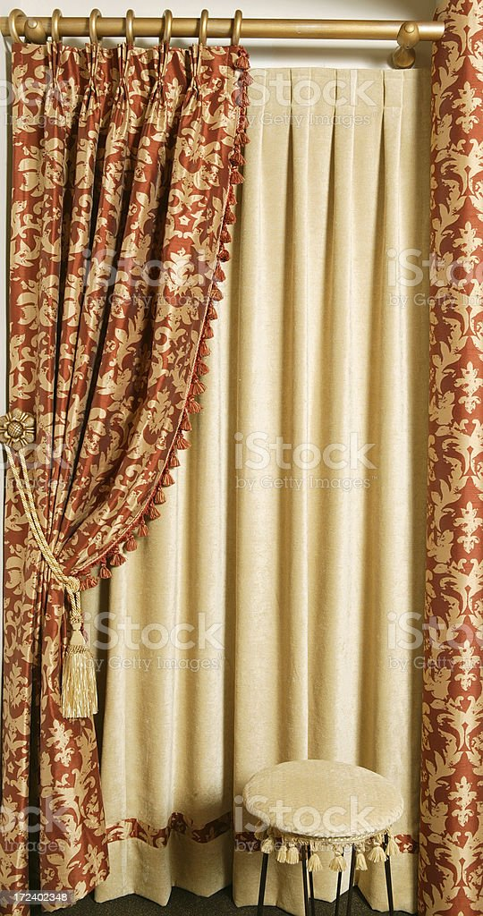 interior curtains with stool royalty-free stock photo
