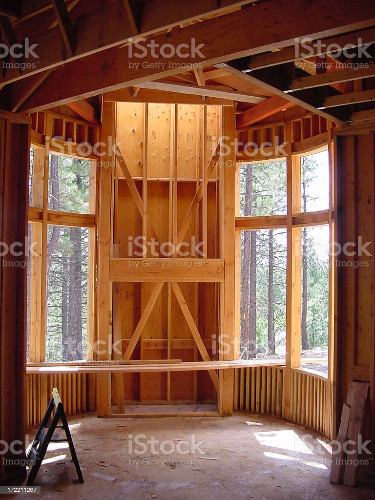 Interior curved wall construction royalty-free stock photo