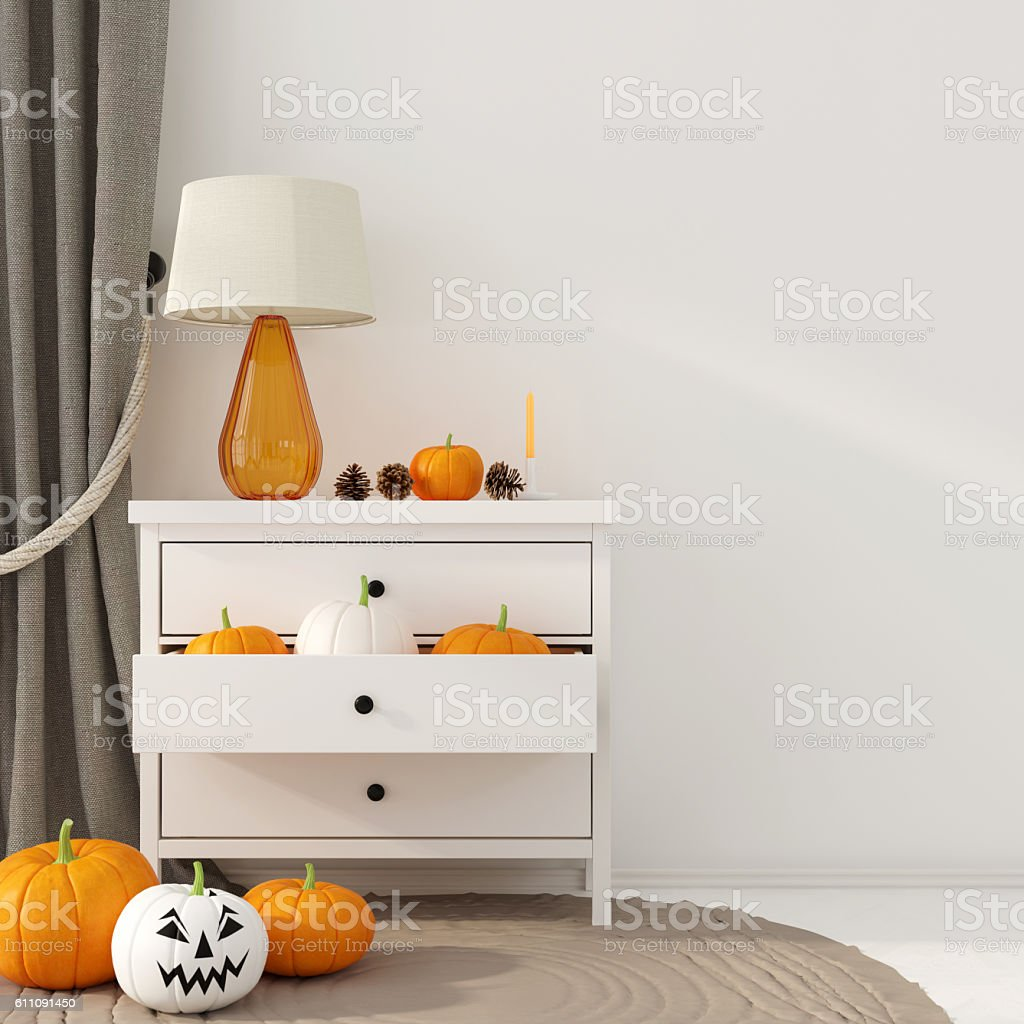 Interior decoration for Halloween with white dresser stock photo