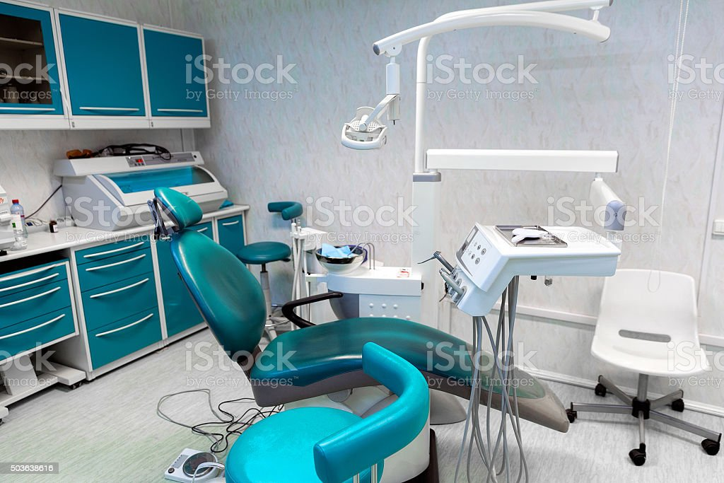 Interior dental office - chair and tools stock photo