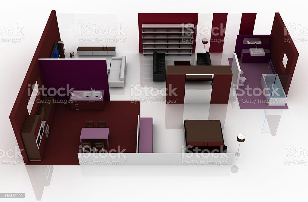 Interior design: apartment layout royalty-free stock photo