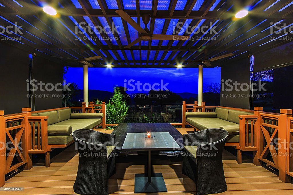 Interior design: Beautiful modern terrace lounge Morning stock photo