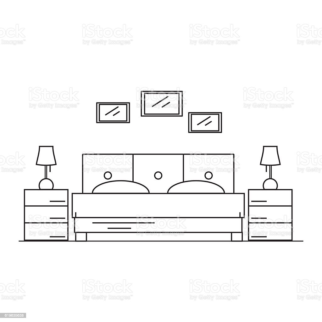 Interior design bedroom in the house or hotel. stock photo