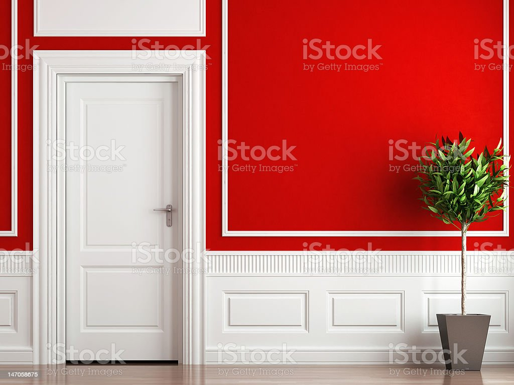 interior design classic red and white stock photo