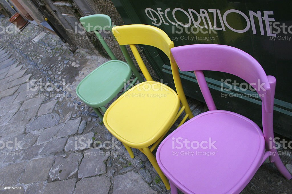 interior design colorful chairs stock photo