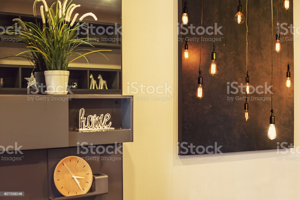 Interior Design Details. Big Picture on the wall living room stock photo