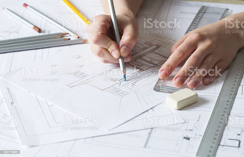 Interior design drawing details royalty-free stock photo