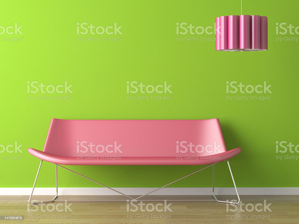 interior design green wall fuxia couch and lamp royalty-free stock photo