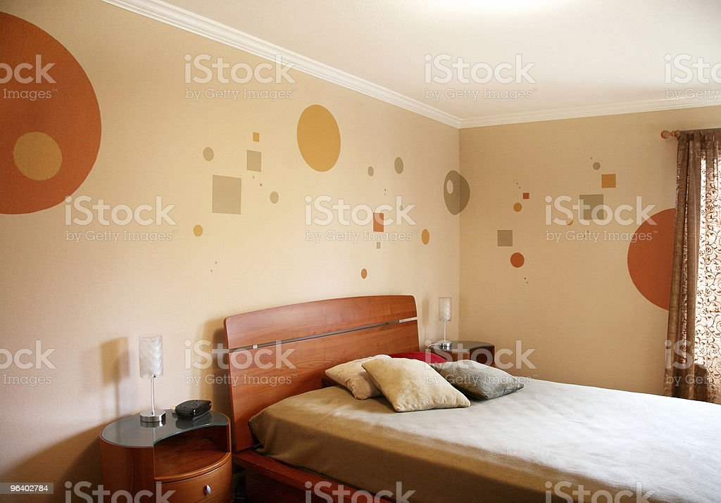 Interior design in modern bedroom with wall art royalty-free stock photo