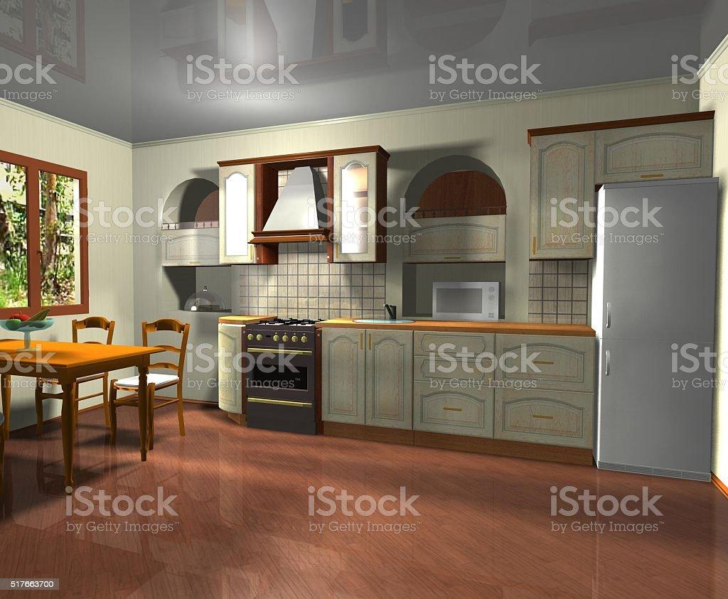 interior design italian style kitchen  3D rendering stock photo