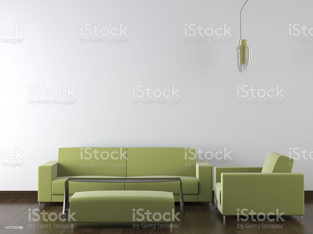 interior design modern green furniture on white wall royalty-free stock photo