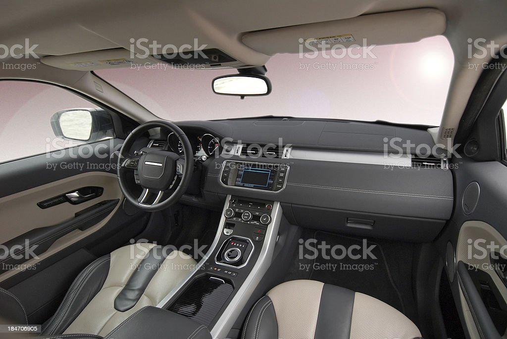 Interior design of a car with leather seats stock photo