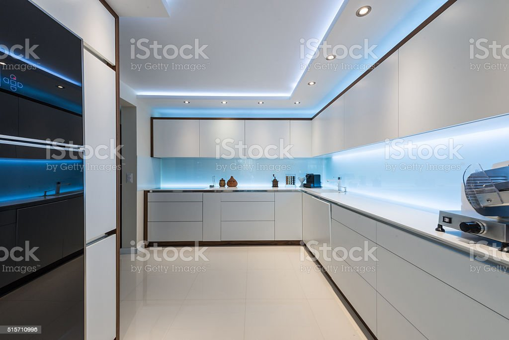 Interior design of clean modern white kitchen stock photo