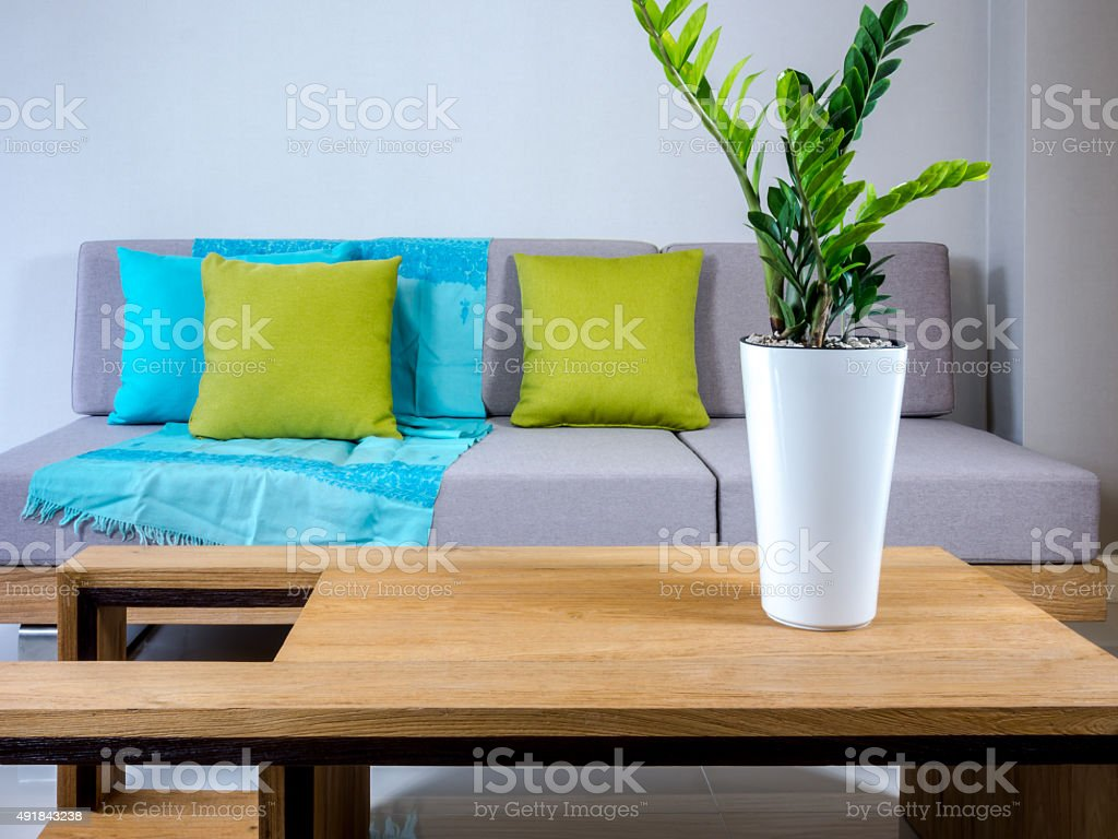 Interior design of couch with flower vase in Living room stock photo