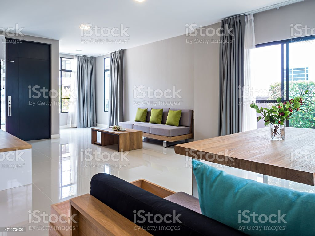 Interior design of modern Living and Dining room stock photo