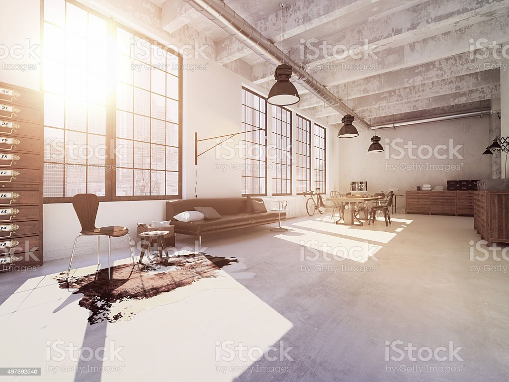 Interior design of  modern Living room. 3d rendering stock photo