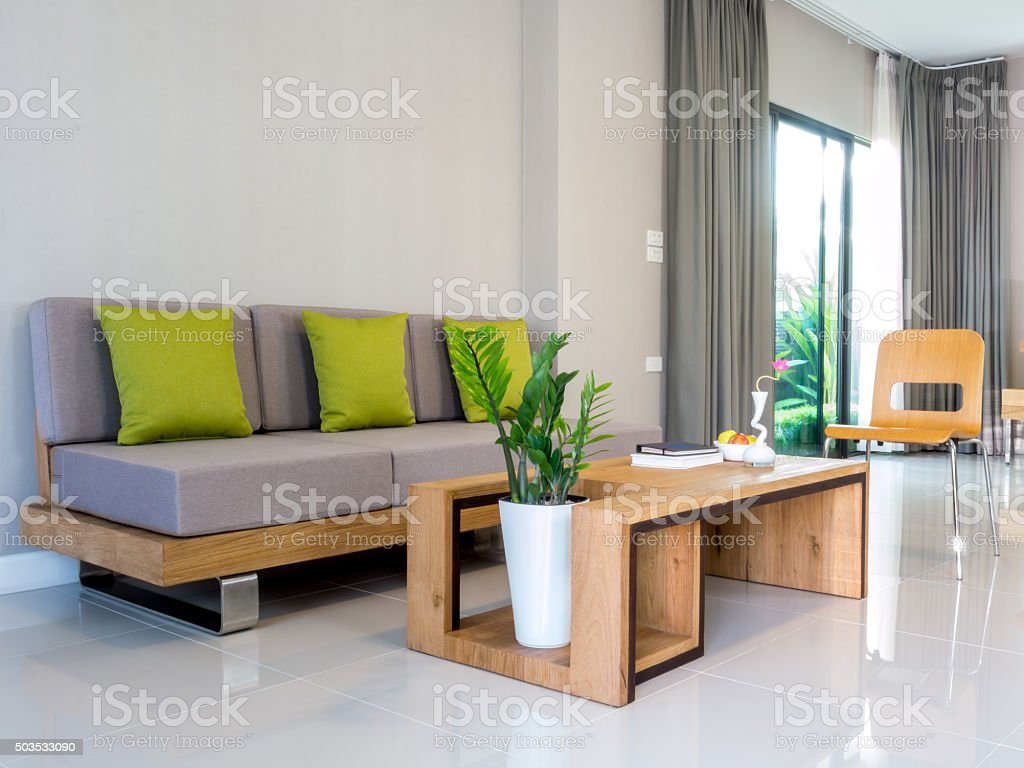 Interior design of modern Living room/ home improvement concept stock photo