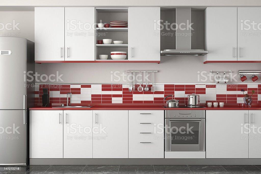 interior design of modern red kitchen stock photo
