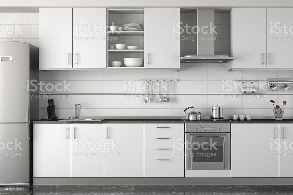 interior design of modern white kitchen stock photo