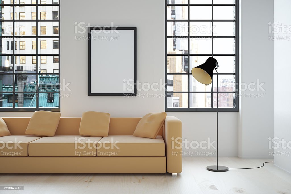 Interior design with blank frame stock photo