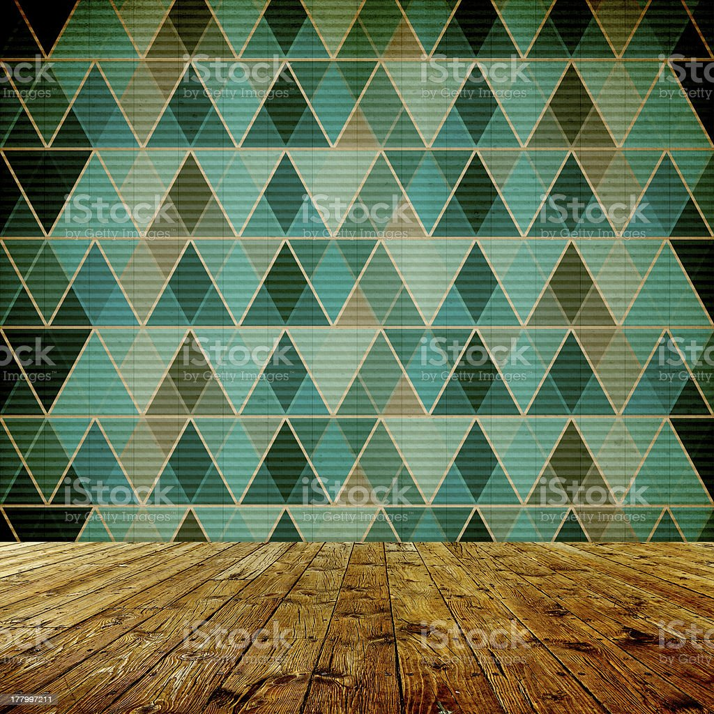 Interior Design With Old Grunge Wallpaper royalty-free stock photo