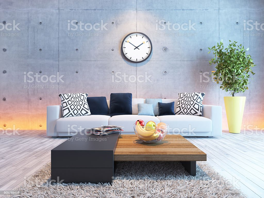 interior design with under light concrete wall stock photo